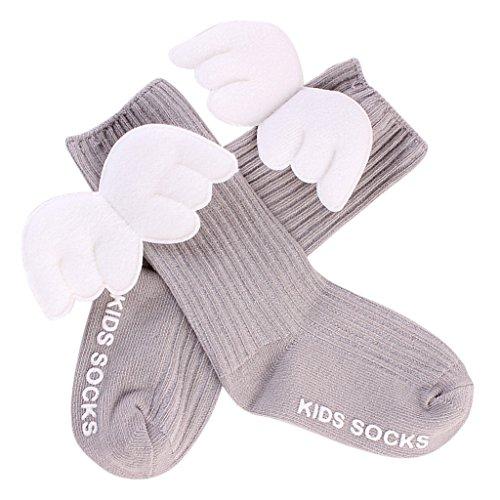 MagiDeal Baumwolle Baby Socken / Erstlings-Söckchen / Erstlingssocken mit Flügel - Grau, (Mit Angel Mädchen Flügeln Kostüme)
