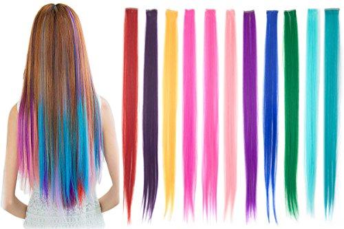 11 Stück Party Höhepunkt Klipp Farbig Haarverlängerung Bunt 24 Zoll Gerade Synthetisch Haarteil