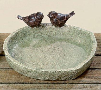 Boltze, abbeveratoio per uccelli da 21 cm di diametro, in resina, con due uccelli, colore: marrone