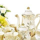 Panbado Set 12pcs Service à Café Thé Porcelaine Ivoire 1 Théière 4 Tasse 1 Sucrier 1 Pot à Lait 1 Plateau 4 Cuillère Style Anglais Vintage Fleuri Royal pour 4 Personnes