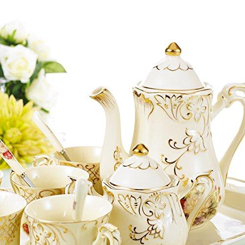 Panbado Service à Café Thé Porcelaine Ivoire Set 12pcs Style Anglais Vintage Fleuri Royal-1 Théière, 4 Tasse, 1 Sucrier, 1 Pot à Lait, 1 Plateau, 4 Cuillère pour 4 Personnes-CS1-01