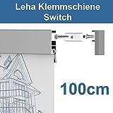Leha® Klemmschiene, Wandklemmschiene, Klemmleiste Switch silber 100cm Aluminium