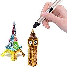 HDCM Kit di penna stampa professionale 3D per la bambini Doodle adulti Disegno Scribble Auto Extrusion + 1,75mm Filament Refill Pack 2 USB alimentato, champagne, Temperatura normale