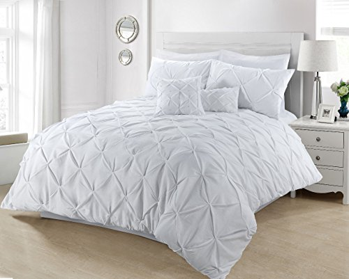 Linen Galaxy Value Added Pintuck Polycotton Duvet Quilt Cover with Pillow Cases Bedding (White, Super King)