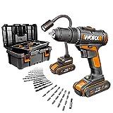 Worx WX977 Akku-Bohrschrauber Lampe flexibel 20V mit Werkzeugkasten, 35 Bohr- und Schraubenzieher. 2 Akkus