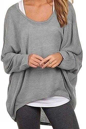 Meyison Damen Lose Asymmetrisch Sweatshirt Pullover Bluse Oberteile Oversized Tops T-shirt Grau-L