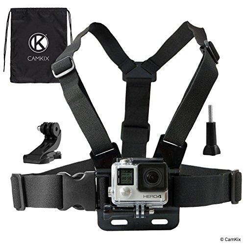 CamKix Einstellbarer Brustgurt Halterung kompatibel mit GoPro Hero5, Hero4, Hero3 +, Hero3, Hero2 und Hero Kamera - Ebenfalls enthalten: 1x J-Haken, 1x Stativschraube, 1x CamKix Kordelzugtasche -
