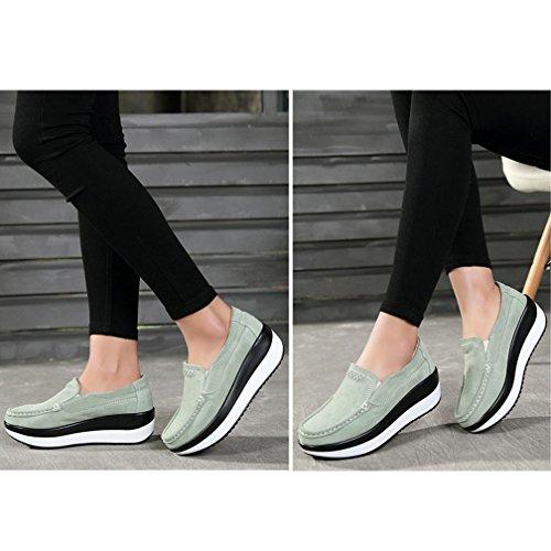 Hishoes Mocassini Donna Scamosciato Shape-up Scarpe da Passeggio Leggero Sportive Scarpe Verde
