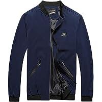 aliveGOT Men's Slim Fit Full Zipper Collarless Flight Bomber Jacket Coat Plus Size
