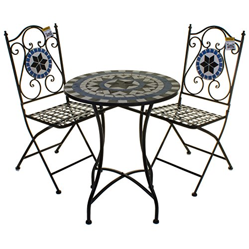 Marko Outdoor 3PC Mosaic Bistro Set Outdoor Patio Garden Design Furniture Table and Chairs (Lisbon)