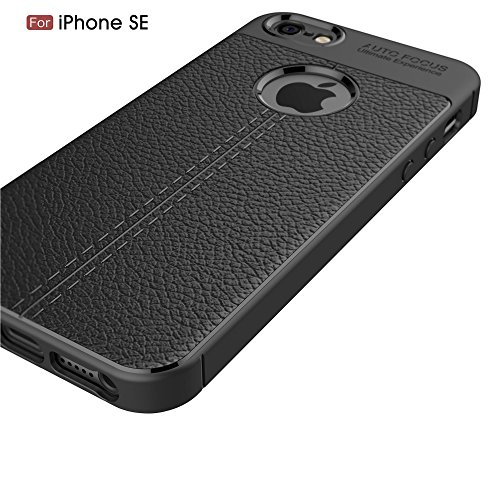 UKDANDANWEI Apple iPhone SE Hülle, Soft Flex Silikon TPU Case Litchi Leder Muster Handyhülle Schutzhülle für Apple iPhone SE - Marine Rot