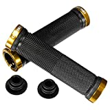 OUTERDO Bicycle Handlebar Grips Double Lock on Locking Aluminum Grips yellow