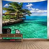 xkjymx Europa y América Tapiz de Viento Estudio en el hogar Dormitorio Dormitorio Revestimiento de poliéster Verde mar árbol de Coco 200 * 150 CM