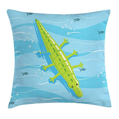 VVIANS Alligator Throw Pillow Cushion Cover, Beach Vacation Theme Bloated Crocodile Relaxing on Blue Sea Water, Decorative Square Accent Pillow Case, 18 X 18 inches, Pale Blue and Yellow Green