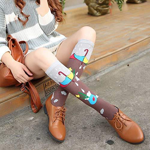 ZHANGJIANJUN Frühling Herbst Frauen Baumwolle Strümpfe Waage Sternenhimmel Hohe Oberschenkel Knie Socken Drucken Cartoon lustige Socken für Damen 2 Paar, 2, Eine Größe
