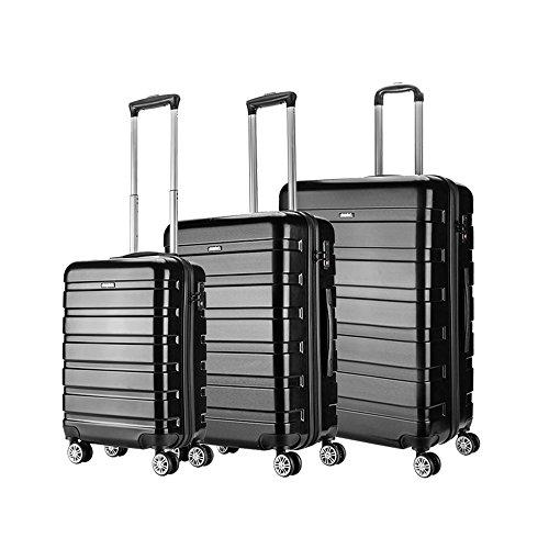 Amasava valigie rigide ABS+PC hard shell super leggero da viaggio Carry On trolley 8 ruote valigia,55cm/40L,65cm/65L,75cm/101L, Nero