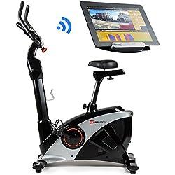 Hop-Sport Vélo d'appartement Ergomètre Apollo HS-090H Bluetooth 4.0 Smartphone Contrôle de résistance sur 32 niveaux Masse d'inertie 13 kg Charge Max. 150 kg Programme WATT (Argenté)