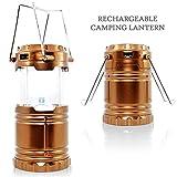 Senhai ricaricabile campeggio portatile Luce, DC e Led di carico solare lanterne da esterno con pile per il campeggio, escursionismo, pesca, backpacking, di emergenza ricarica per il cellulare (EU Plug, d'oro)