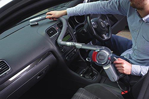 Black+Decker PV1200AV 50111XPV12-Recogetodo ciclónico para automóvil (12 V, Capacidad 350 ML, Cabezal pivotante, 7,5, 11 W, Gris, Rojo, Transparente