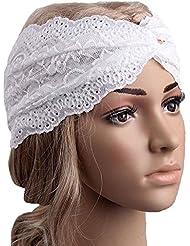 Auxma Moda Mujeres Headwear Twist Sport Yoga Encaje Diadema turbante pañuelo en la cabeza wrap accesorio para el pelo Rosa Caro (Blanco)