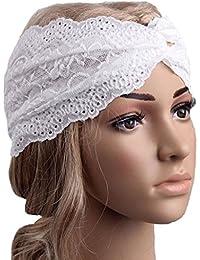 Auxma Moda Mujeres Headwear Twist Sport Yoga Encaje Diadema turbante pañuelo en la cabeza wrap accesorio