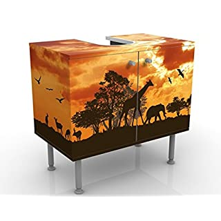 Apalis Design Vanity Tanzania Sunset 60x55x35cm, small, 60cm wide, adjustable, wash basin, vanity unit, washstand, bathroom cupboard, base unit, bathroom, narrow, flat