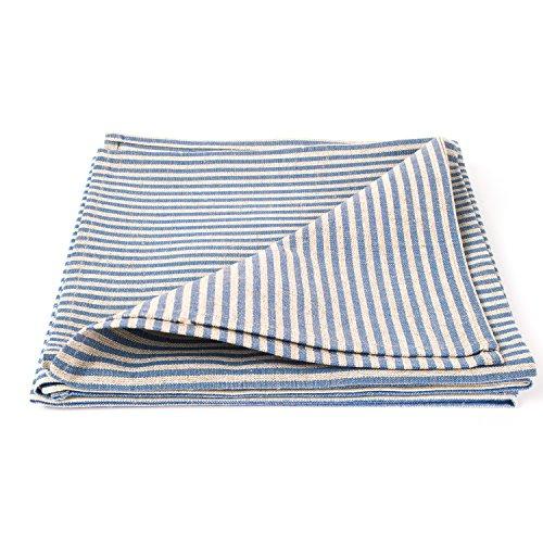 Linenme Serviettes de table, en lin et coton, set de 4, collection Jazz, Bleu