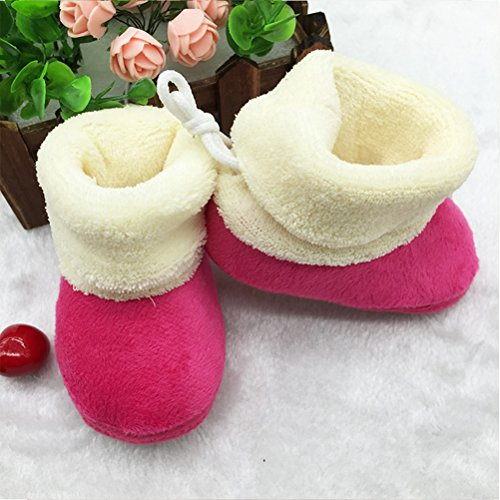 Zhuhaitf Excellent Toddler Soft Boots Keep Warm Crib Shoes Baby Girl Soft Sole Snow Boots Rose Red