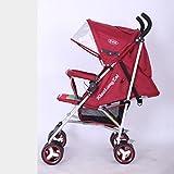 Babywagen Rahmen Aus Aluminiumlegierung Leichtgewicht Faltbar Kann Sitzen/Liegen Wagen Vierradstoßdämpfer Sonnenblende Anpassen Sonnenschutz Fünf-Punkt-Sicherheitsgurt Kinderwagen 100 * 60 * 43 Cm