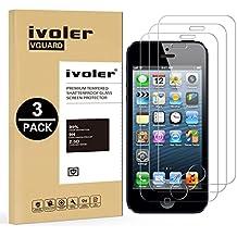 [3 Unidades] iPhone SE / 5S / 5 / 5c Protector de Pantalla, iVoler Protector de Pantalla de Vidrio Templado Cristal Protector para iPhone SE / 5S / 5 / 5c -Dureza de Grado 9H, Espesor 0,30 mm, 2.5D Round Edge-[Ultra-trasparente] [Anti-golpe] [Ajuste Perfecto] [No hay Burbujas]- Garantía Incondicional de 18 Meses