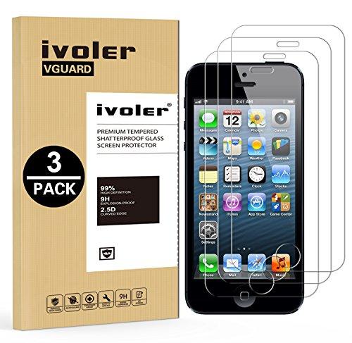 Ivoler [3 pack] pellicola vetro temperato per iphone 5s / se / 5 / 5c [garanzia a vita], pellicola protettiva, protezione per schermo
