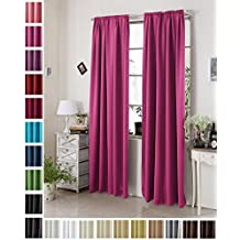 Woltu # 330,–Cortina Cortina opaca DKL–Cortina térmica, con cinta fruncidora pesado opaco cortina cortina térmica Mate, tela, rosa, 135x245 cm
