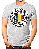 OM3® - Romania - Herren T-Shirt Rumänien Wappen Fußball Trikot EM'16 WM Championship Vintage Grau Meliert XXL