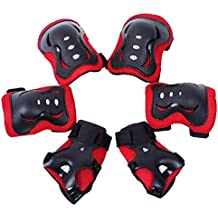 Meta-color negro y blanco 6 piezas de los niños/juego de copas de Protectora de engranaje de-2 de cuchilla para patines de + almohadillas de molestias en el codo + almohadillas de 2 de la muñeca 2 almohadillas de la rodilla de