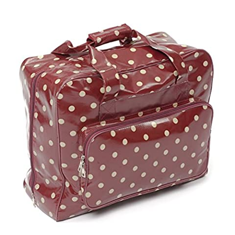 Hobby Gift MRB.003 44 x 19 x 37 cm PVC Cotton Polka Sewing Machine Bag, Burgundy