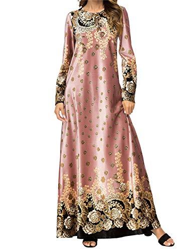 Ropa Musulmana de Invierno Falda Larga - Vestidos Femeninos Abayas Mujeres Islámicas Traje Arabe Cálido Rosado 3XL