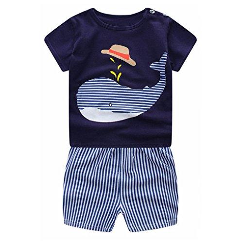 Bekleidungssets, GJKK Neugeborenen Baby Jungen Mädchen Karikatur Wal Kurzarm Crewneck Tops Shirt + Streifen Hosen Outfits Set Sommer-Set Sommerkleidung Outfits Set Shortsset (Blau, 100CM)
