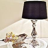 DRULINE Lovely Keramik Tischlampe Tischleuchte Nachttischlampe Lampe Leuchte Lampenfuß 46 cm Schwarz