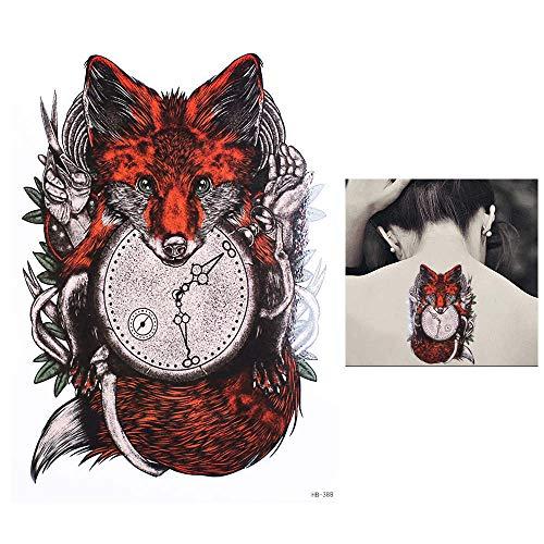 adgkitb 3pcs Arm Rotfuchs Uhr Zeitmuster Temporary Tattoos Sticker 14.8x21cm