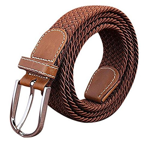 BOZEVON Canvas Stretch Elasticated Woven Belts for Men Women Many Colours Available