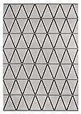 Teppich New Orleans in 2 Designs, moderner & pflegeleichter Webteppich in elegantem Grau, Weiß & Anthrazit, Farbe:Grau, Größe:120 x 170 cm
