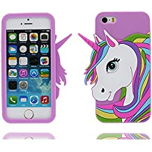 iPhone 5 Custodia, Copertura Premium TPU Nuovo design durevole Prezzo basso in iPhone 5S case 3D Unicorno per iPhone 5 5s SE 5C 5G ( porpora )