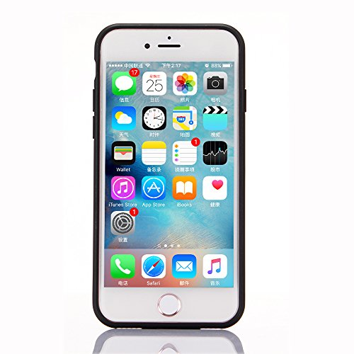 "iPhone 7 Hülle, iPhone 7 Schwarze Silikontasche, CLTPY Ultra Hybrid 2 in 1 Plating TPU Schutzfall, Dünne Weben Muster Series Stoßfest Case für 4.7"" Apple iPhone 7 + 1 x Stift - Black A Gold B"