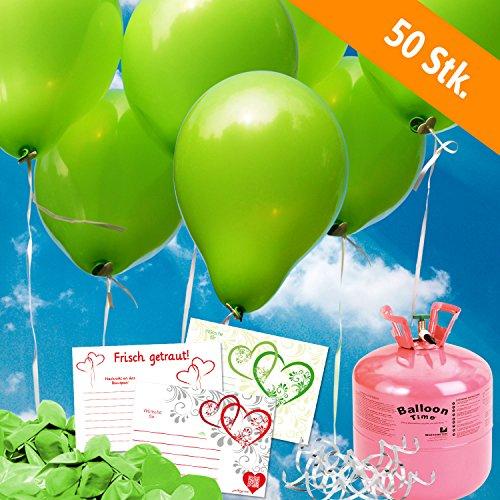 50 apfelgrüne HELIUM - LUFTBALLONS mit Ballonflugkarte - Komplett-Set aus Helium-Einwegflasche, Hochzeitsballons und Flugkarten - Gas Luftballons für bis zu 50 Hochzeitsgäste mit Flugkarten (Helium-tank Für 50 Ballons)