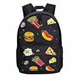 Tasche Bags Loveso Damen Mode Jung Hamburger Fries Sandwich Muster Leinwand Lässige Schule Rucksack Reiserucksack (Schwarz)