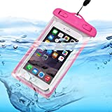 I-Sonite (Hot Pink Universal Transparent Mobile Phone, Passport, Money Underwater Waterproof Swimming Pool, Ocean Protection Bag Touch Responsive for Xiaomi Mi A2 Lite (Redmi 6 Pro)