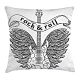 VVIANS Rock and Roll Throw Pillow Cushion Cover, Calligraphic Text Guitar Icon Ornamental Tribal Feathers Artful Print, Decorative Square Accent Pillow Case, 18 X 18 Inches, Black and White