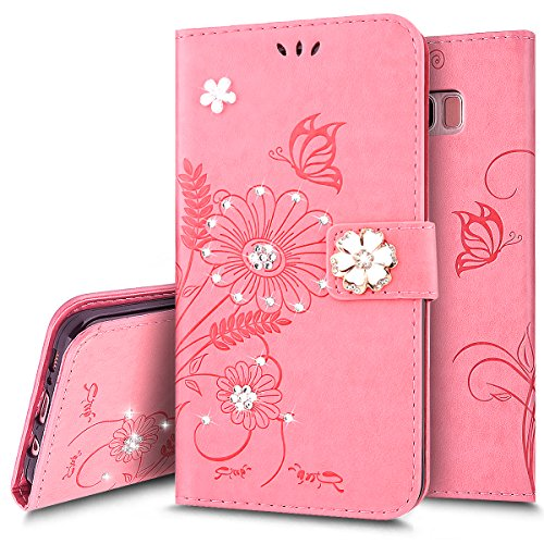 Custodia Cover per iPhone 7/8,Ukayfe Luxury Protettiva Flip Portafoglio Copertura Case con Super Sottile TPU Interno Case e Porta carte di credito in PU pelle Supporto Stand con Chiusura Magnetica per Rosa