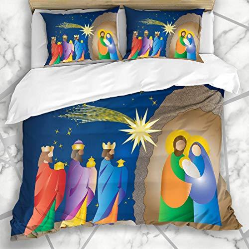 Soefipok Conjuntos Funda nórdica Cueva Navidad Natividad