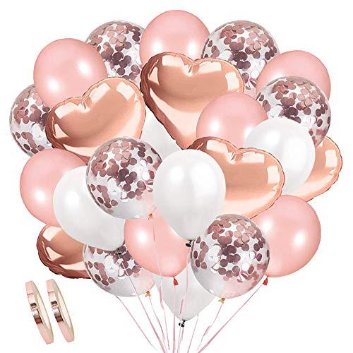 AivaToba Rose Gold Luftballons Konfetti Ballons, Latexballons Helium Ballons Herzluftballon Herzballons Weiße Luftballons für Geburtstag, Baby-Dusche, Hochzeit Dekoration, Party Deko